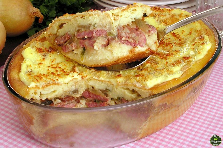 Torta cremosa de batata com linguiça receita delicioso