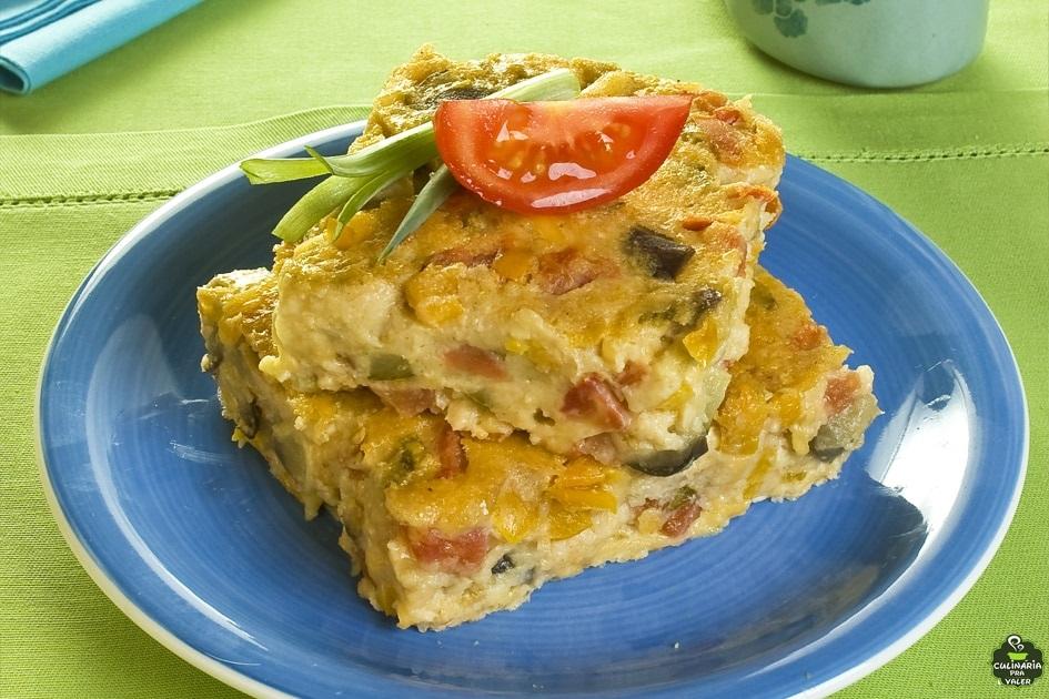 Torta de legumes com aveia saudável e saborosíssima