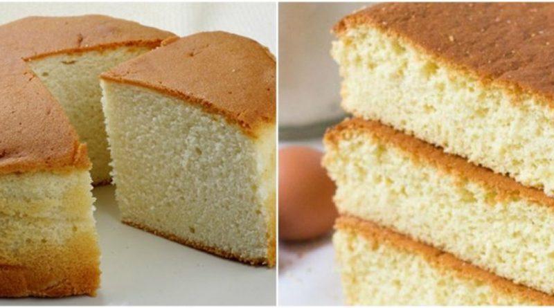 Massa de bolo pão de ló com 3 ingredientes